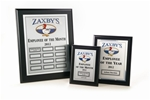 Ebony, Matte Black MRP (Monthly Recognition Program)1 Master Plaque, 12 Individual Monthly Plaques, and 1 Yearly Winners Plaque - your choice of Gold or Silver Plates - shipped within 3-5 working days. * Price includes your logo in black.  Color logos are available with a one-time set-up fee of $35.00. *  Each month you will receive 2 name plates for the monthly winner via  mail (one for the Master plaque and one for that month's individual  plaque). * The shipping cost for the entire program is minimal at $50.00.           See all Our MRP Programs at www.specialtyengravingMRP.com or call 800-830-3386.