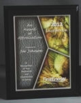 8 x 10 Spring Stain Glass Effect On Matte Black PlaqueAdd your custom text & logo to this pre-designed award with a stain glass effect. Lettering & logo included.New for 2014 Call 800-830-3386 to buy now!
