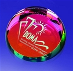 Dichroic Crystal Paper Weight This simple yet elegant paperweight is a perfect gift for the office.Call 800-830-3386 to buy now!