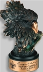 5½ Bronzetone Eagle HeadThis Bronze Eagle Head is small yet fierce. The beak is a brilliant bronze finish. This elegantly antiqued finished figurine is on a round ebony base. A metal tone plate is provided for personalization. Call 800-830-3386 to buy now!